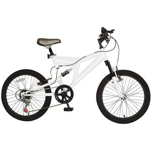 "20"" Cycle Force Dual Suspension Kids' Bike, White"