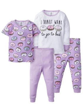 Gerber Baby & Toddler Girl Snug Fit Cotton Pajamas, 4Pc Set