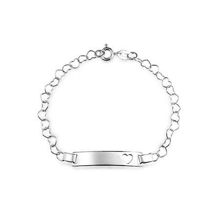 Bling Jewelry Sterling Silver Open Heart Chain Baby ID Bracelet 6in (Sterling Silver Engravable Heart Bracelet)
