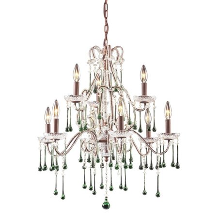 9 Light Chandelier In Rust And Lime Crystal - image 1 of 1