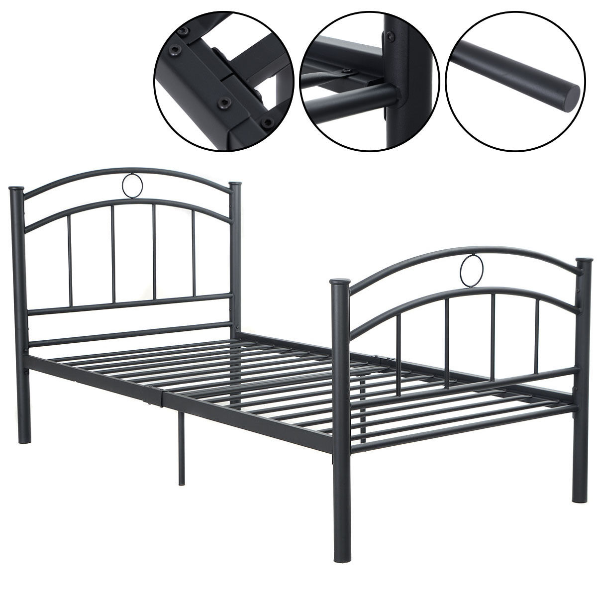 Costway 83''x42''x35'' Black Metal Bed Frame Platform Twin Size  Home Furniture (Black)