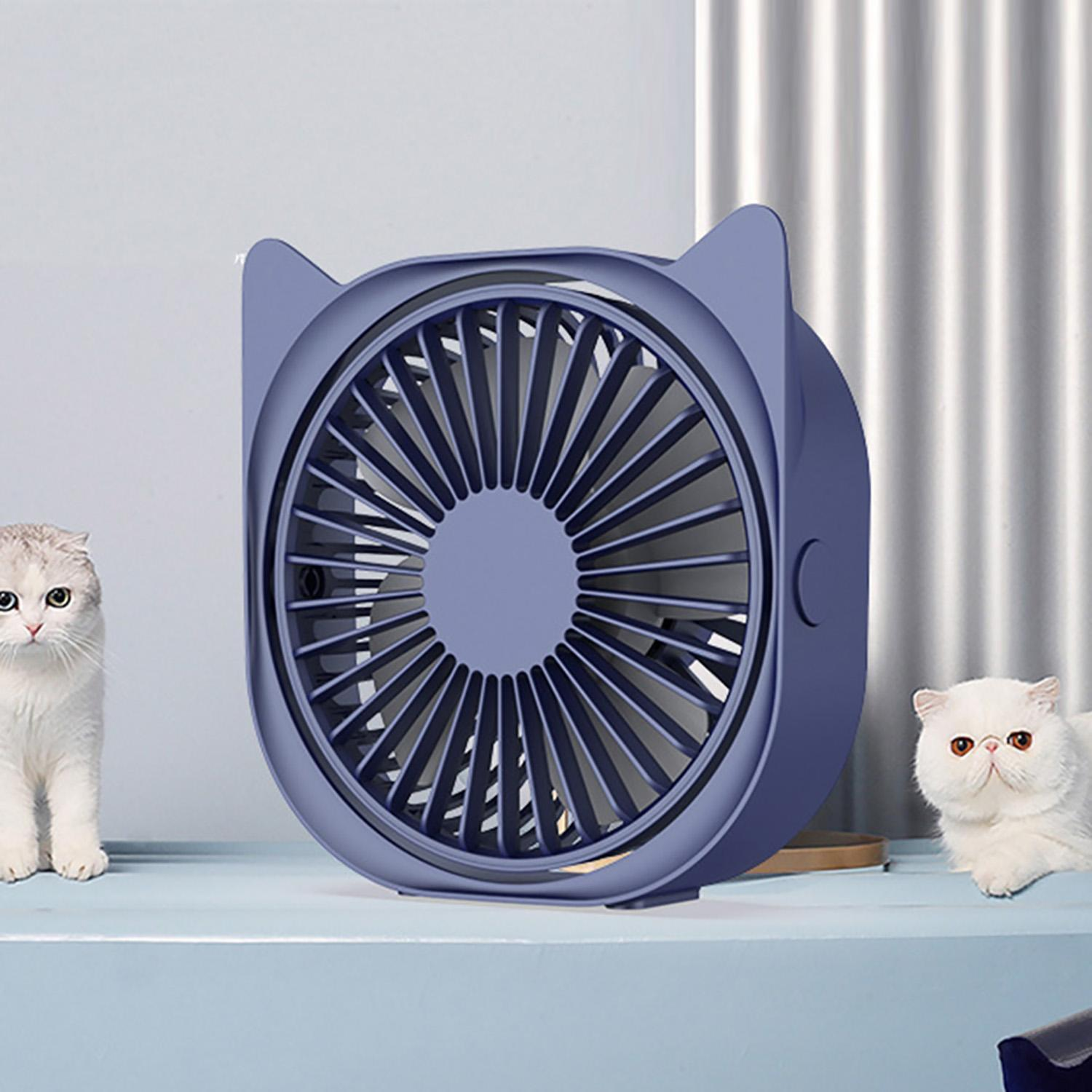 Air Cooler Mini Cat Table Fan USB Handheld Desktop Electric Fan Home Office Cooling Personal Fans Color : Pink