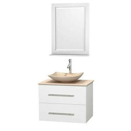 Wyndham Collection Centra 30 inch Single Bathroom Vanity in Matte White, White Man-Made Stone Countertop, Pyra Bone Porcelain Sink, and 24 inch Mirror