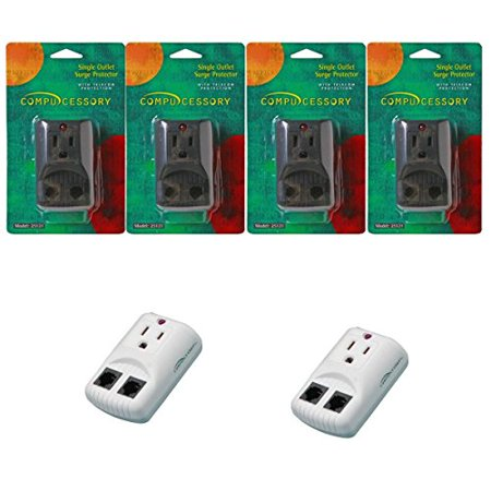 6-Pack: Compucessory Surge Protector 1 Outlet 270 Joules Telephone / Fax / Modem Protection Emi / Rfi Filtered / Putty 25120 / Black 25121 ()