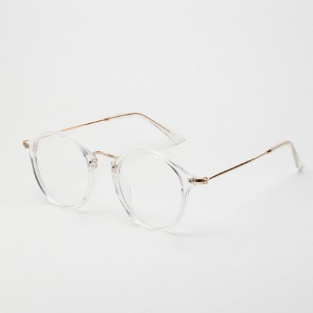 Mens Womens Round Retro Clear Lens Nerd Frames Glasses Eyewear (Large Round Glasses Frames)