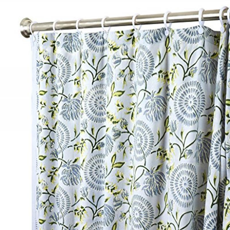 Unique Shower Curtains Designer Fabric Modern Gray Geometric 72 Inches with Flowers