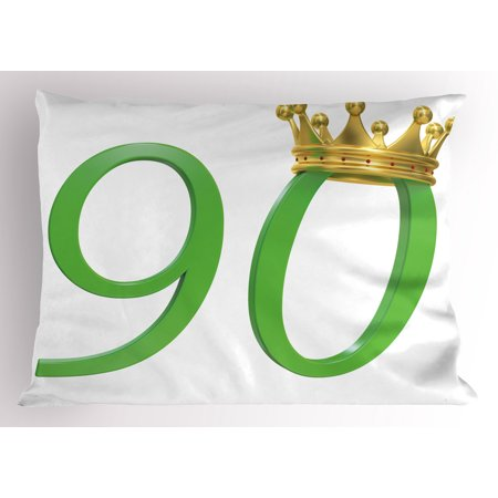 90th Birthday Pillow Sham 3D Style Design with Number Ninety Queen Crown Celebration Theme Print, Decorative Standard Size Printed Pillowcase, 26 X 20 Inches, Yellow Green, by Ambesonne - Ideas For 90th Birthday Celebrations