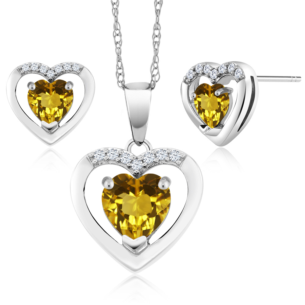 10K White Gold 1.29 Ct Heart Yellow Citrine and Diamond Pendant Earrings Set by