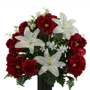 Sympathy Silks Artificial Cemetery Flowers  Realistic, Outdoor Grave Decorations - Non-Bleed Colors, and Easy Fit -White Lily Red Peony Red Carnation Bouquet