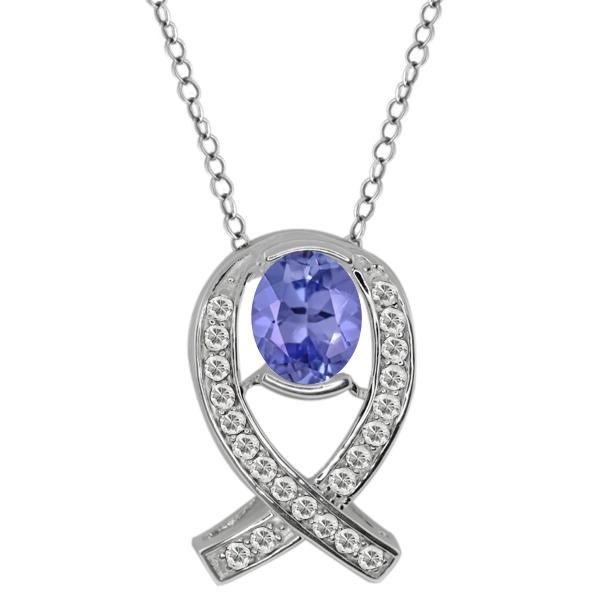 1.60 Ct Oval Blue Tanzanite White Topaz Sterling Silver Pendant