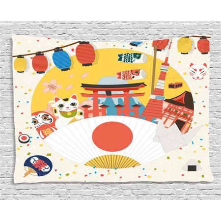 Lantern Tapestry, Japanese Inspired Commercial Pattern Various Asian Culture Items Cool Cat Origami, Wall Hanging for Bedroom Living Room Dorm Decor, 80W X 60L Inches, Multicolor, by