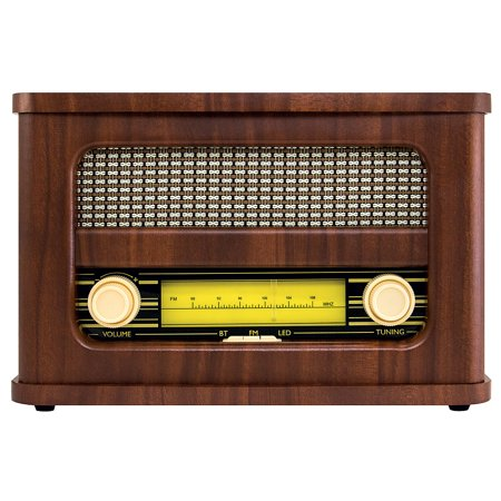 Vintage Radio Design Bluetooth Speaker - Rechargeable Stereo w/ FM (Soundbar With Fm Tuner And Bluetooth India)