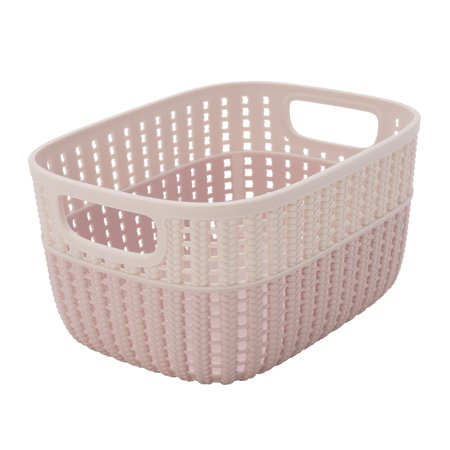 Sailor Knot Storage Tote Two Tone - Blush - Small -(Dims: (Kaelyn Laser Cut Two Tone Reversible Tote)
