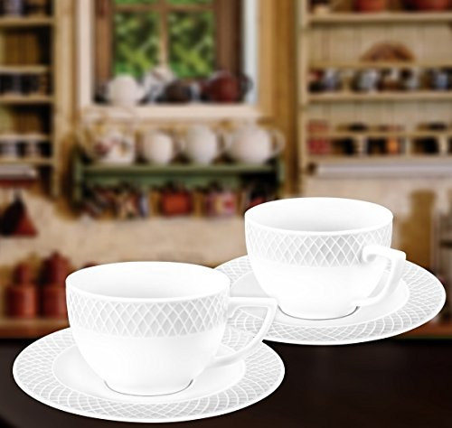 Wilmax WL-880105, 8 oz. Julia Collection White Porcelain Tea Cups & Saucers, Classic European Bone China Tea/Coffee Cups with Matching Saucers, Gift Box Set of 12 (6 cups + 6 saucers)