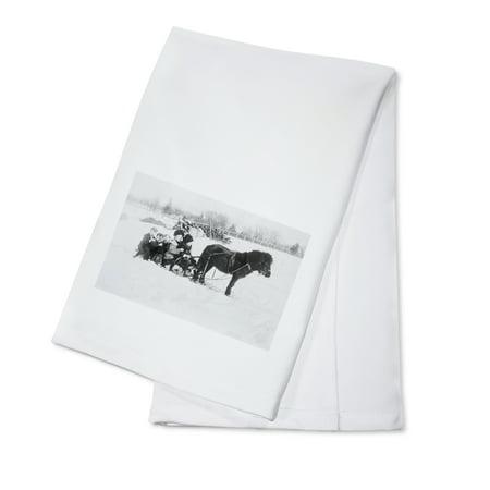 - Children on Pony Drawn Sled Photograph (100% Cotton Kitchen Towel)