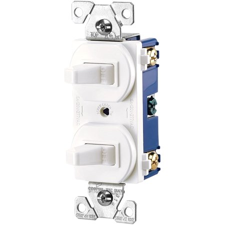 271W-BOX 15-Amps 120/277-Volt Traditional Heavy Duty Grade Two Single-Pole Switches, White, Single Pole, 2 toggle..., By Eaton Ship from