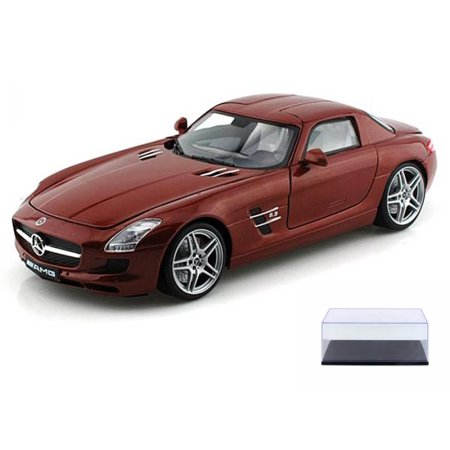 Diecast Car & Display Case Package - Mercedes-Benz SLS AMG, Chocolate - Motormax 79162 - 1/18 scale Diecast Model Toy Car w/Display Case ()