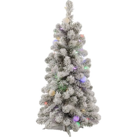 Vickerman 3' Flocked Kodiak Spruce Artificial Christmas Tree with 50 Multi-Colored LED and 15 Multi-Colored G40 LED Lights ()
