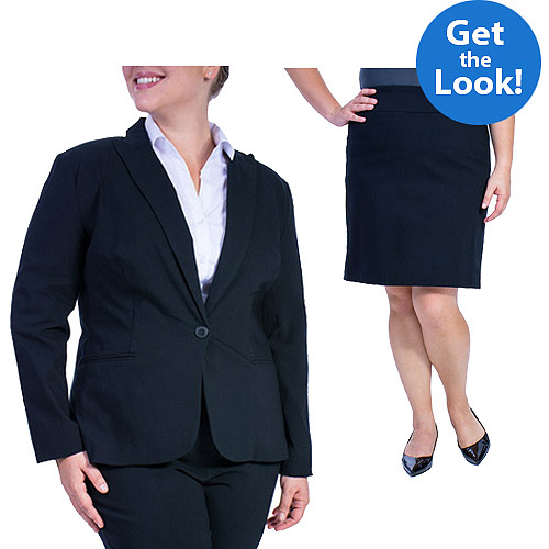 Career Esstentials George Womens Plus Size Millennium Suiting Jacket and Skirt Outfit Value Bundle