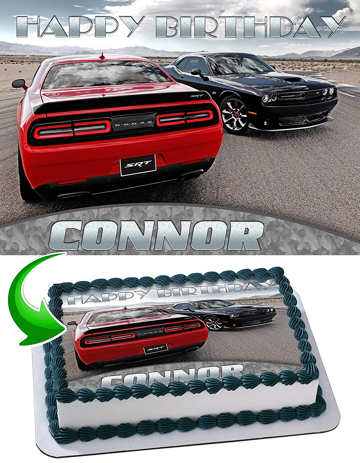 Dodge Challenger Edible Cake Image Topper Personalized Picture 1 4 Sheet 8 X10 5 Walmart Com Walmart Com