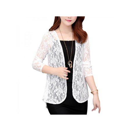 Topumt Women Summer Lace Sheer Open Front Cardigan Jacket Formal Suit Short Cover Up Tops Coat