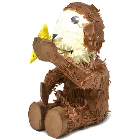 Monkey Pinata - Monkey with Banana Pinata, Brown, 15-1/2-Inch