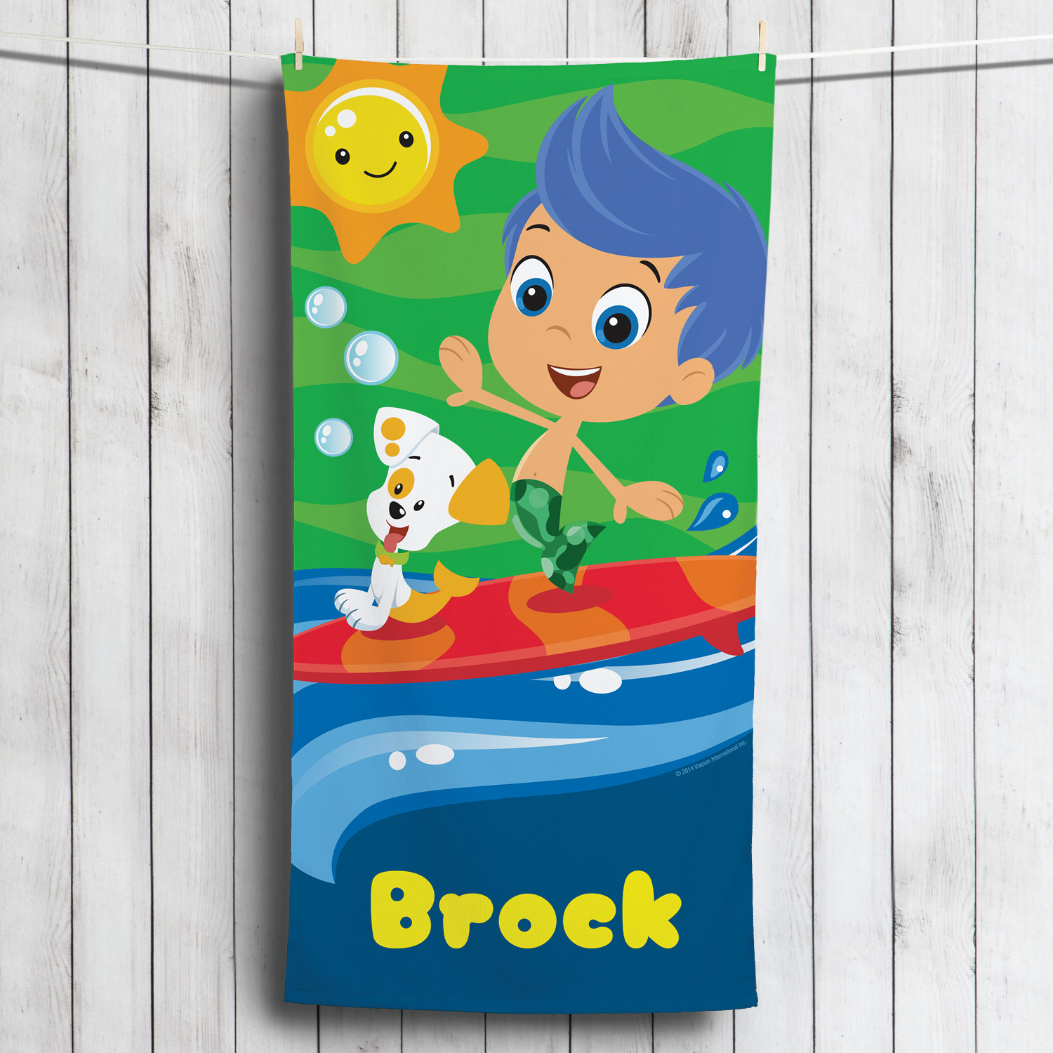 Personalized Bubble Guppies Surfing Gil Microfiber Beach Towel