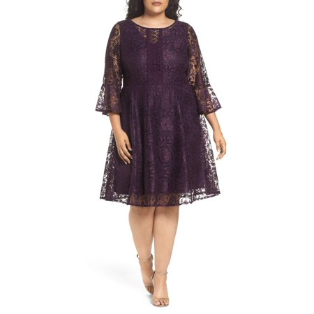 Julian Taylor Women\'s Plus Size Elbow Bell Sleeve Lace Fit and Flare Dress