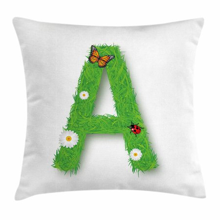 Letter A Throw Pillow Cushion Cover  Fresh My Name Style Capital A With Eco Spring Elements Animal Wings Blooms  Decorative Square Accent Pillow Case  18 X 18 Inches  Green Multicolor  By Ambesonne