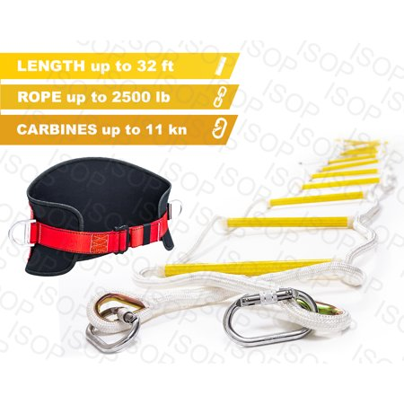 ISOP Emergency Fire Escape Rope ladder 3 - 5 Story Homes 32 ft Flame Resistant Fire Safety Ladders with Hooks & Safety Belt – Fast Deploy & Simple To Use – Portable, Compact & Easy to Store- Reusable (Firefighter Ladder Belt)