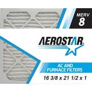 Aerostar 16 3/8x21 1/2x1 MERV 8, Pleated Air Filter, 16 3/8x21 1/2x1, Box of 4, Made in the USA