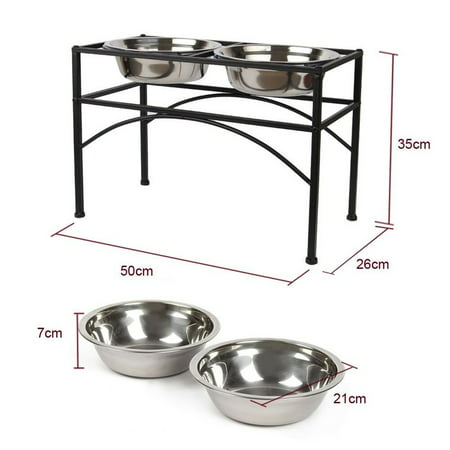 Elevated Dog & Cat Feeder - Double Bowl Raised Stand + Extra Two Stainless Steel Bowls, Washable - Perfect for Water, Food or Treats (Cat Raised Feeder)