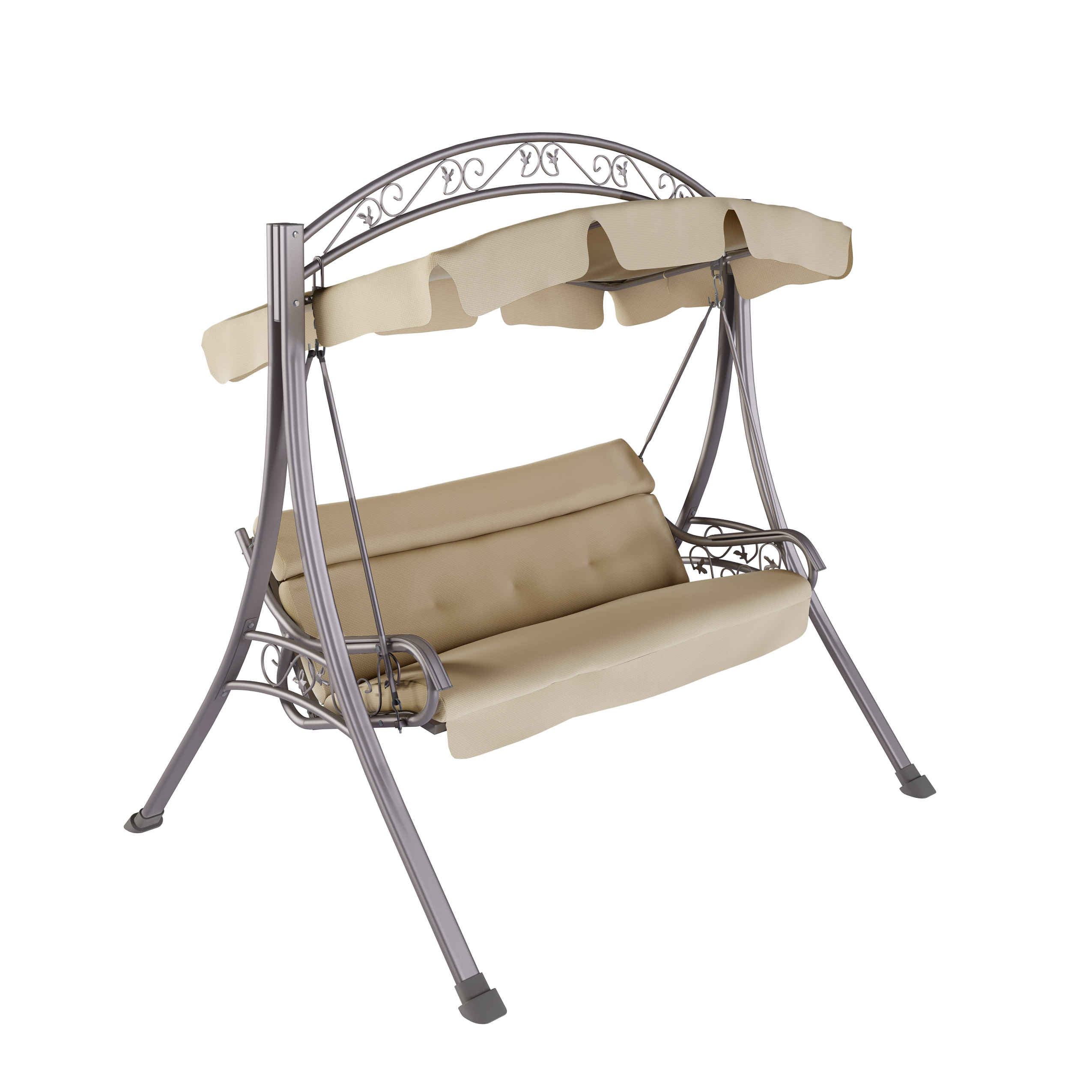 CorLiving Nantucket Patio Swing with Arched Canopy, Beige by CorLiving