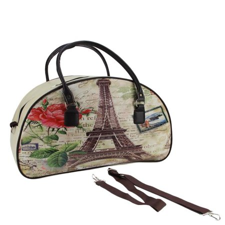 """20"""" Decorative Vintage-Style Eiffel Tower French Theme Travel Bag with Handles and Shoulder Strap"""