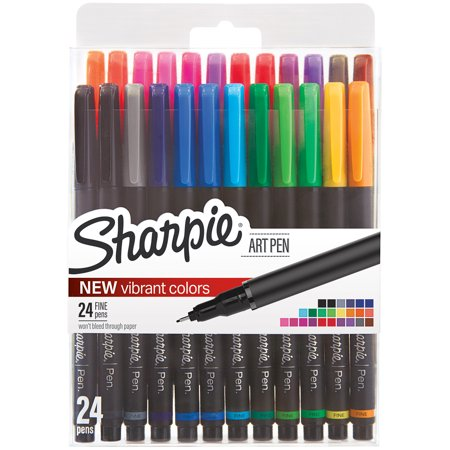 Sharpie Fine Point Art Pen W/Hardcase 24/Pkg-Assorted