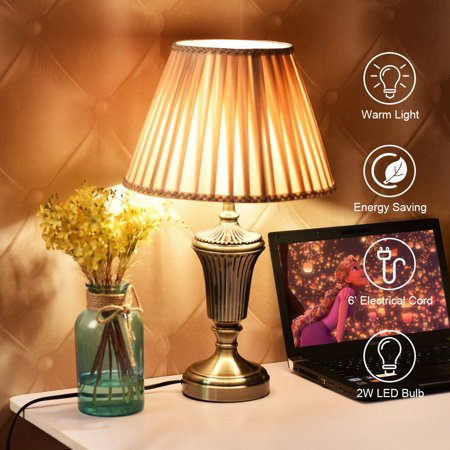 13'' Antique Brass Bedside Table Lamp w/ LED Bulb Champagne Night Light - image 10 of 10