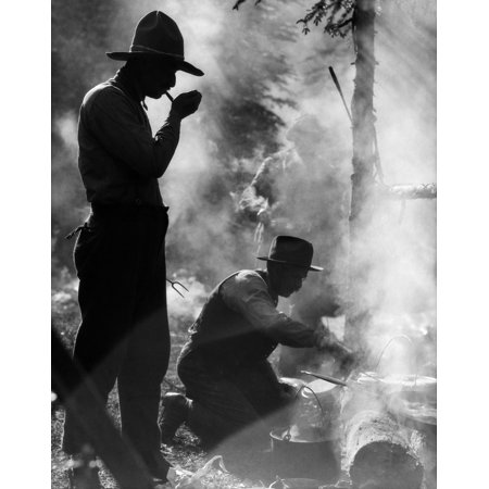 1920s Three Men Cowboys Camping One Man Smoking Pipe One Man Cooking Over Campfire Moody Silhouette Print By Vintage - Mens Hairstyles Of The 1920s
