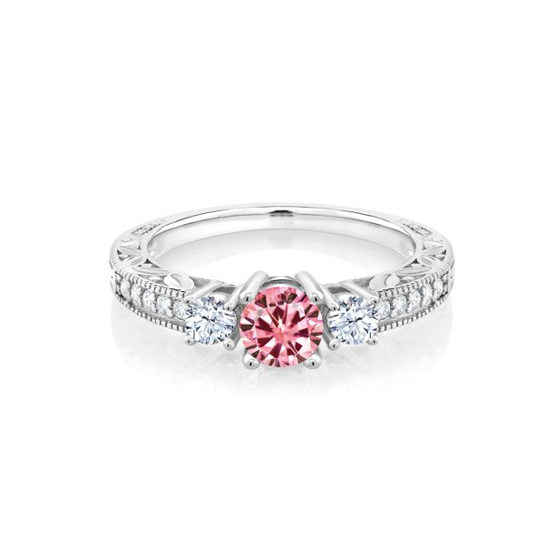 925 Silver Ring Round Pink Created Moissanite Created Sapphire 0.50ct DEW