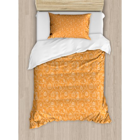Harvest Duvet Cover Set, Pattern with Pumpkin Leaves and Swirls on Orange Backdrop Halloween Inspired, Decorative Bedding Set with Pillow Shams, Orange White, by Ambesonne