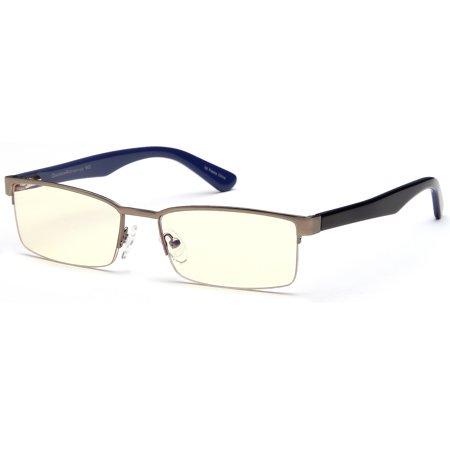 GAMMA RAY GR007 Computer Gaming Reading Glasses with Semi Rimless FrameMagnification and Anti Blue Light Anti Glare UV400 for TV Monitor (Ray Ban Anti Glare Computer Glasses)