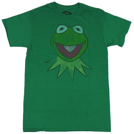 Mens Animal Muppets T Shirt (The Muppets Mens T-Shirt  - Distressed Smiling Kermit the Frog Head)