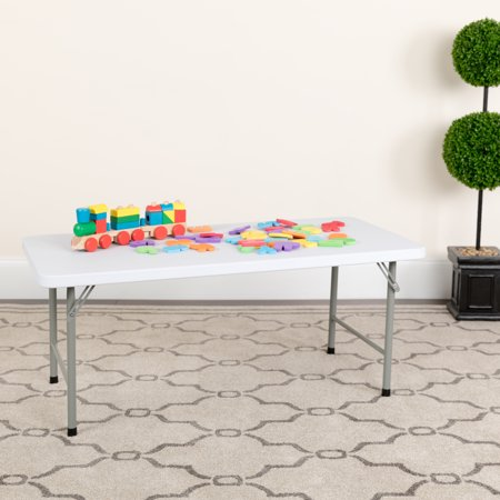 Flash Furniture Kids Granite White Plastic Folding Table, Multiple Sizes