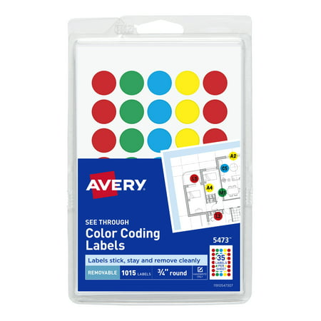Avery See-Through Removable Color Dots, 3/4