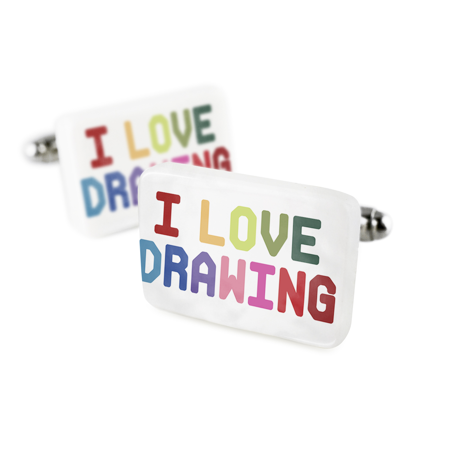 Cufflinks I Love Drawing,ColorfulPorcelain Ceramic NEONBLOND