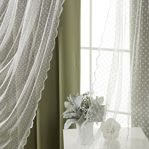 Olive Wide Dot Lace 80 x 84 In. Blackout Window Treatments, Set of Two by