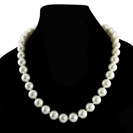 - Cream White 10mm Simulated Faux Pearl Necklace Hand Knotted Strand 18