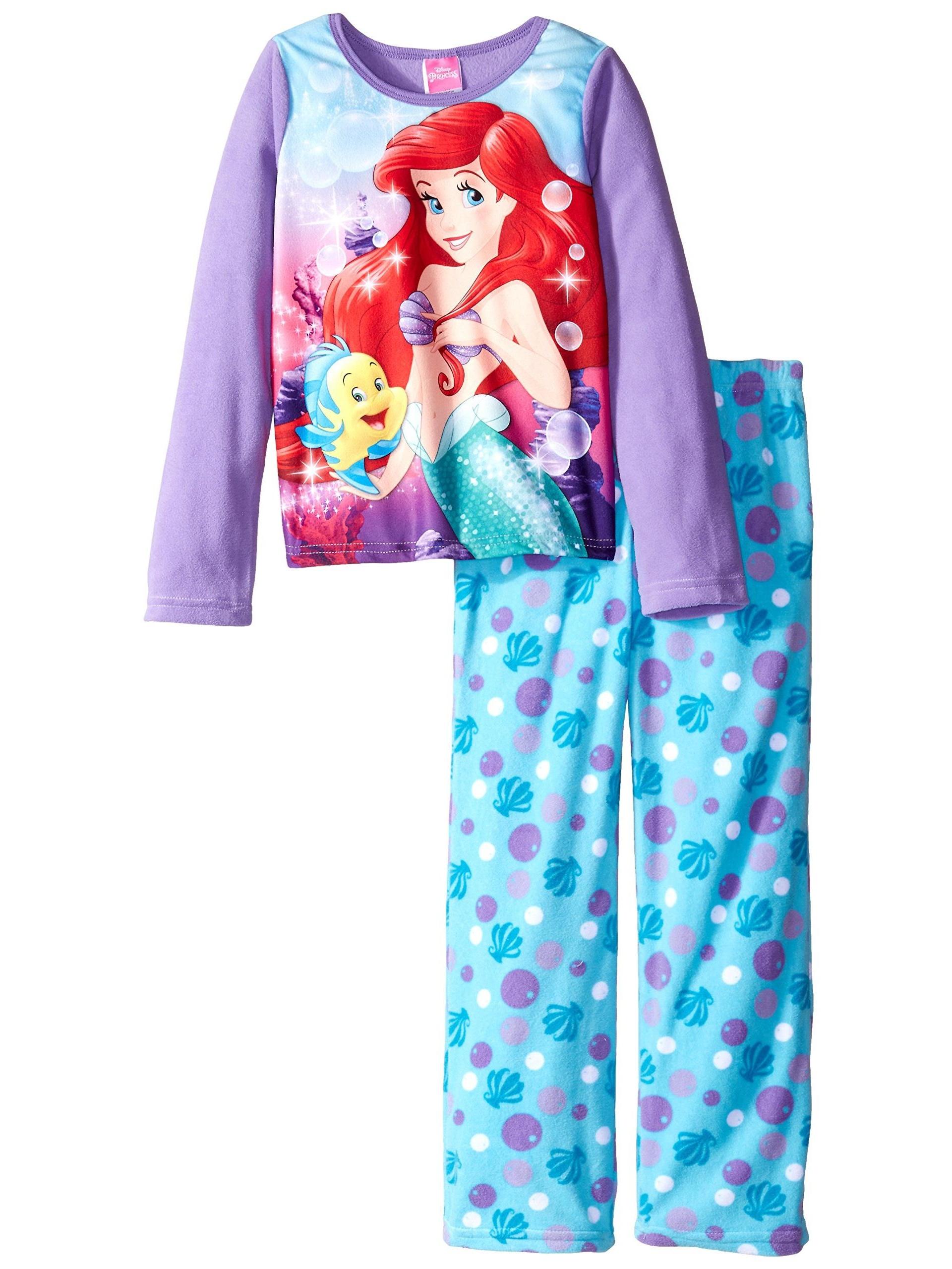 Girls' 2-Piece Fleece Pajama Set, Kids Sizes 4-10, Ariel, Size: 4