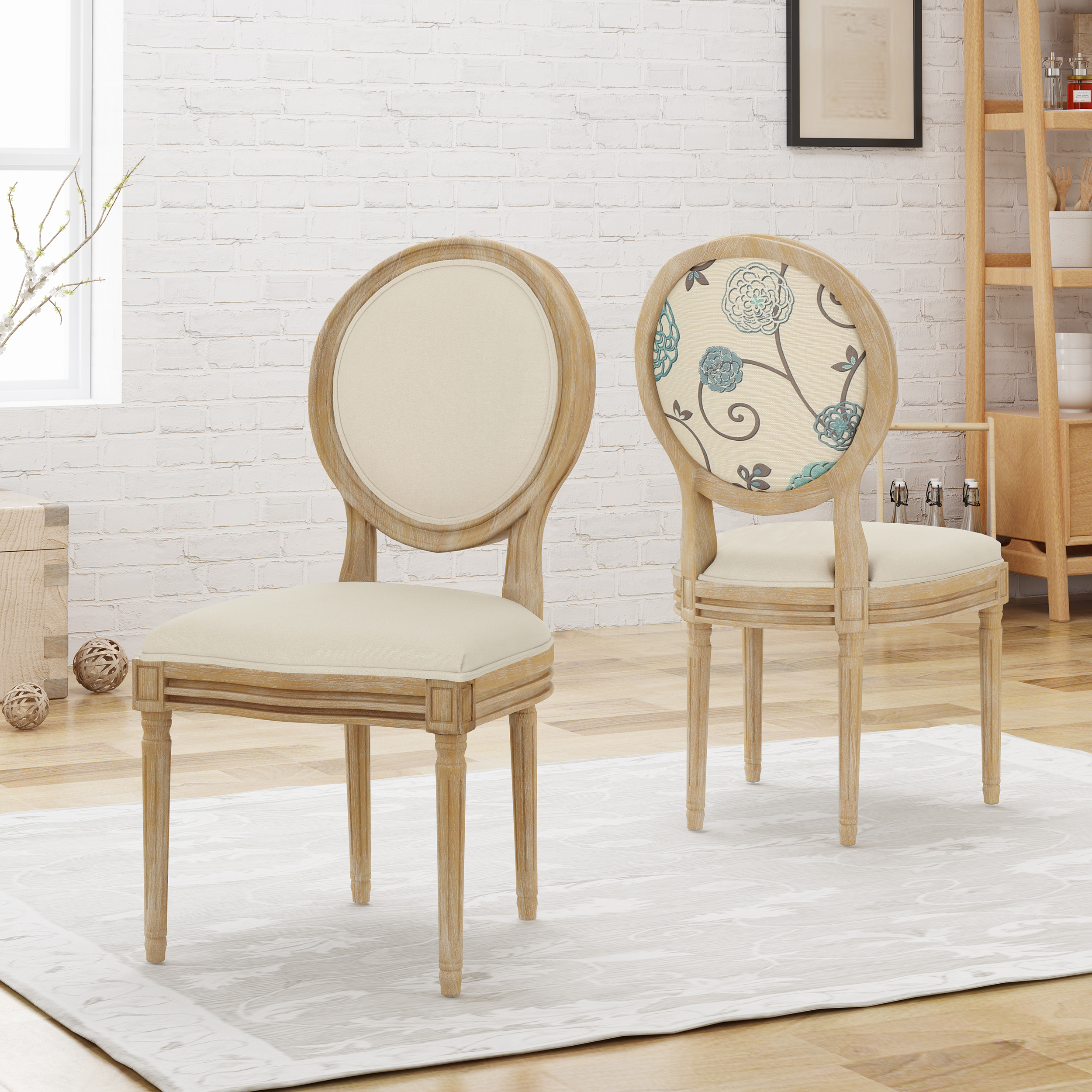 Noble House Nicole Fabric Upholstered Farmhouse Dining Chairs Set Of 2 Beige White Blue Walmart Com Walmart Com