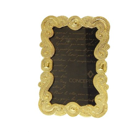 Concepts in Time Picture Frame Gold Ornate Textured Beaded 4x6