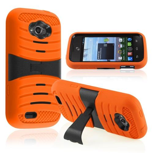 Insten For ZTE Savvy Z750c StraightTalk UCASE Cover w/ Kickstand Orange UCASE